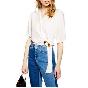 Topshop Buckle Wrap Top | White | Tortoise Buckle